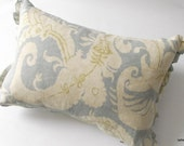 cottage chic  romantic linen  pillow cover with micro ruffle