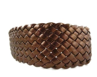 Boho Headband Woven Soft Synthetic Leather Metalic Bronze Color Vintage Headband
