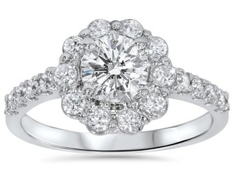 2.15CT Diamond Halo Engagement Ring 14K White Gold Size 4-9