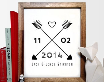 Cross Arrows With Names and Date Custom Art Print, Love, Minimalist Art, Home Office Decor, Wedding decor, Wedding Gift, Anniversary Gift