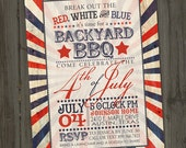 Antique Fourth of July Invitation, Fourth of July Invite, PRINTABLE 4th of July Invitation, 4th of July Invite,  Independence Day Invitation