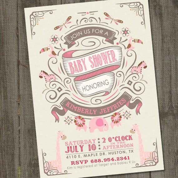 Vintage ornate pink baby shower invitation girl baby shower il570xn filmwisefo