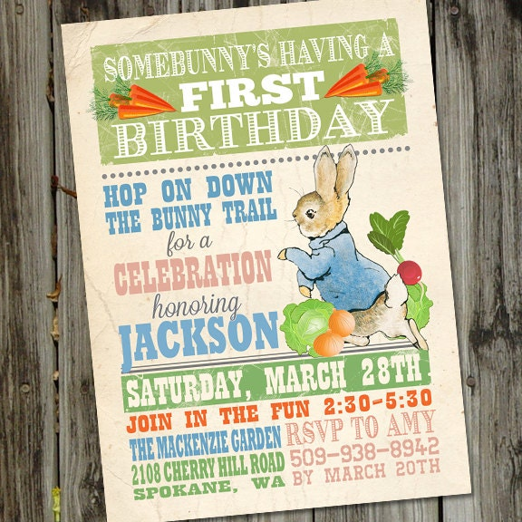 Peter Rabbit Invitation Peter Rabbit Birthday Invitation – Beatrix Potter Birthday Invitations
