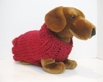 Red wool dog sweater hand knitted