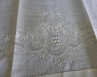 TWO Antique Hand Embroidered White Linen Xtra Long Guest Towels