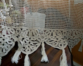 OOAK Gorgeous Antique French Handmade Hand Crochet Knit Lace Curtain Drape Panel