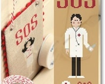 PDF cross stitch patterns : SOS First Aid Doctor Male Madame Chantilly medicine medical doctor e-pattern instant download