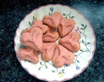 Butter Spritz Cookies-Trees-Hearts-Pressed Flowers, Cocoa Cookies, 2 doz Combo- for Holiday for Her, Small Cookies-Tea Party Cookies