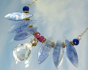 quartz,blue kyanite,angel winged necklace