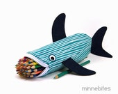Out to Sea Shark Bag by MinneBites / Handmade Nautical Shark Pencil Case - Aqua Navy Scuba Gift - Desk Accessory School Bag - Ready to Ship