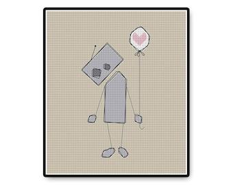 Lonely Robot - Cross Stitch PDF Pattern