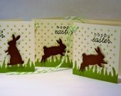 Easter Basket Tags, Easter Mini Cards, Bunny Gift Tags Set of 4, Hang Tags