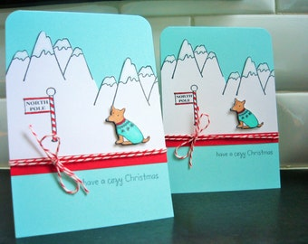 Dog Christmas Cards Set of 3, Dog Holiday Cards, Jack Russell Cards, Happy Holiday Greeting Cards, Mountain Lover Cards, Dog Lover Gift
