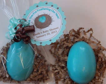 10 BIRD NEST EGG Soap Favors {With Tags & Ribbons} - Robins Egg Baby Shower, Egg In A Nest Baby Shower, Nest Egg Bridal Shower, Wedding