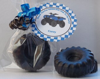 10 TIRE Soap Favors {With Tags & Ribbons} - 4 Wheeler Favor, Four Wheeler Birthday, ATV Party, Tire Party Favor, Racing Party, Cars Birthday