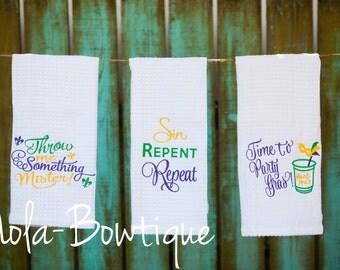 Set of 3 Mardi Gras Dish Towel, Kitchen Decor, Kitchen Towels, Dish Towels