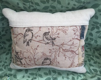 Burlap Bird Pillow - Quilted Linen Blend - Birds on a Branch - Earthtone Decor
