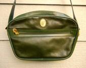 Vintage 70s Dark Emerald 'Falandy Paris' Leather Shoulder Bag
