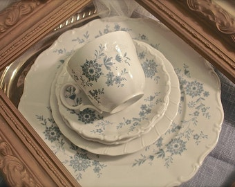 Shabby Chic blue and white Mismatched China Set, 1 Place Setting, 5 Piece Shabby Chic Vintage China Dinnerware Set  (White and Blue)