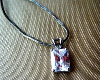 """Multifaceted CZ Pendant with 16"""" Snake Chain"""