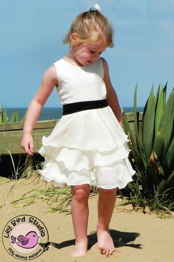 Lily Bird Studio PDF Sewing Pattern - Maddie's Dress - 1 to 10 years - Easter dress, circle skirt, layer skirt, girls, flower girl