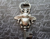 Steampunk Victorian Silver Bumble Bee w/ Skeleton Key Necklace