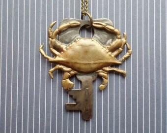 Steampunk Victorian Crab Key Necklace