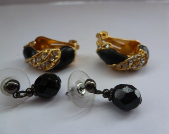 Vintage Earrings Pierced and Clip On Earrings 2 Pair of Earrings Vintage Earrings