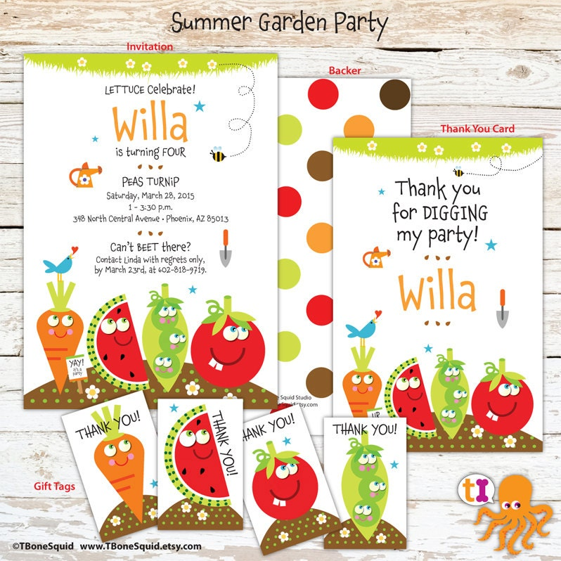 garden party birthday invitation with vegetables for kids. Black Bedroom Furniture Sets. Home Design Ideas