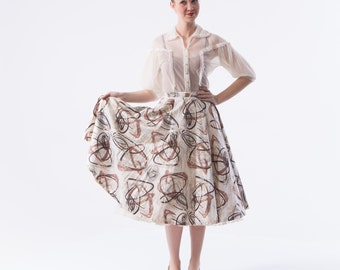1950's Atomic Swirl Circle Skirt/  Xsmall 50s Full Cotton Skirt