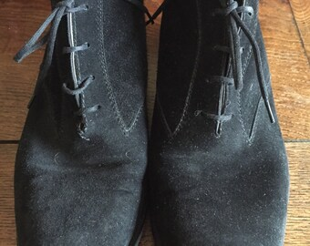 Vintage Tantino Crisci black suede ankle boots