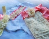 Newborn Girl Ivory Lace Photo Prop coming home outfit set