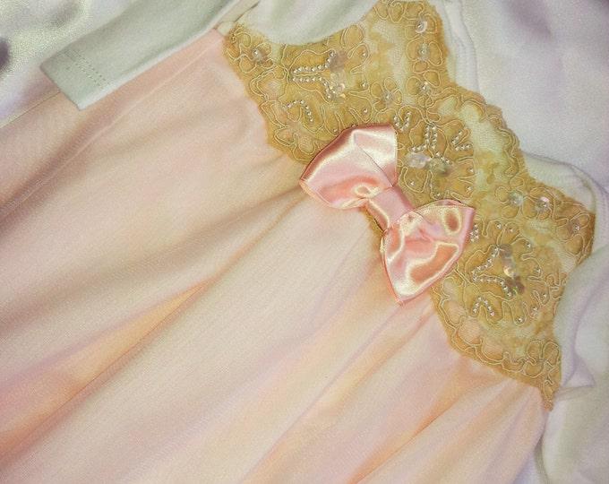 Newborn Girls Pale Pink Chiffon Lace Layette gown Take me Home