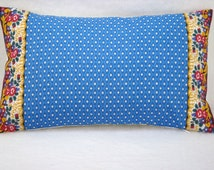 French Country Blue and White Lumbar Pillow with Pierre Deux French Border 9x16