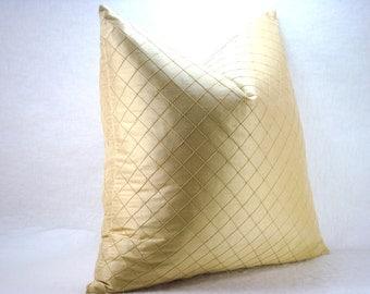 Decorative Silk Pillow Lattice Stitched Gold Silk Pillow 20x20  Pillow Cover