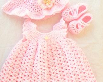 Baby Girl Dress Newborn- 3 mos. Pinafore Set Summer
