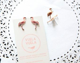 Pink Flamingo Stud Earrings / Small Romantic Folk Stud Earrings by VuelaVuela Bijoux