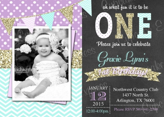 One First Birthday mint girl Lavender gold mint PRINTABLE – Polka Dot First Birthday Invitations