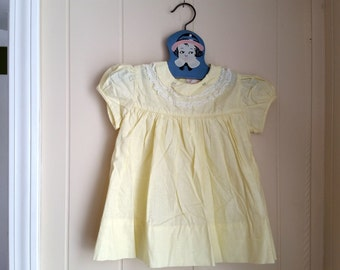 """Vintage Yellow """"Babe Frock"""" Dress with Flowers from 1960s, Nannette Originals, 18 months, toddler Easter dress"""