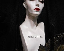Pale Gothic Vintage Display Head Rene of Paris Mannequin Head Wig Stand Hat Display at Gothic Rose Antiques