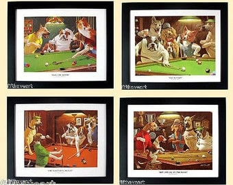 Dogs Playing Pool Set of 4 Framed Posters A+Quality