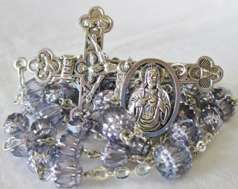 Handmade Catholic Rosary, Preciosa Czech Glass Lavender Cathedral Beads, Sacred Heart & OLO Mt Carmel Center, Eucharistic Crucifix