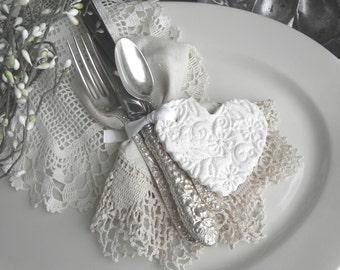 Baptism or Shower Favors Personalized Imprinted Heart Salt Dough Ornaments Set of 10