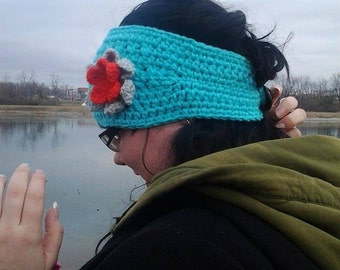 Teal Head Wrap with Grey/Orange Flower