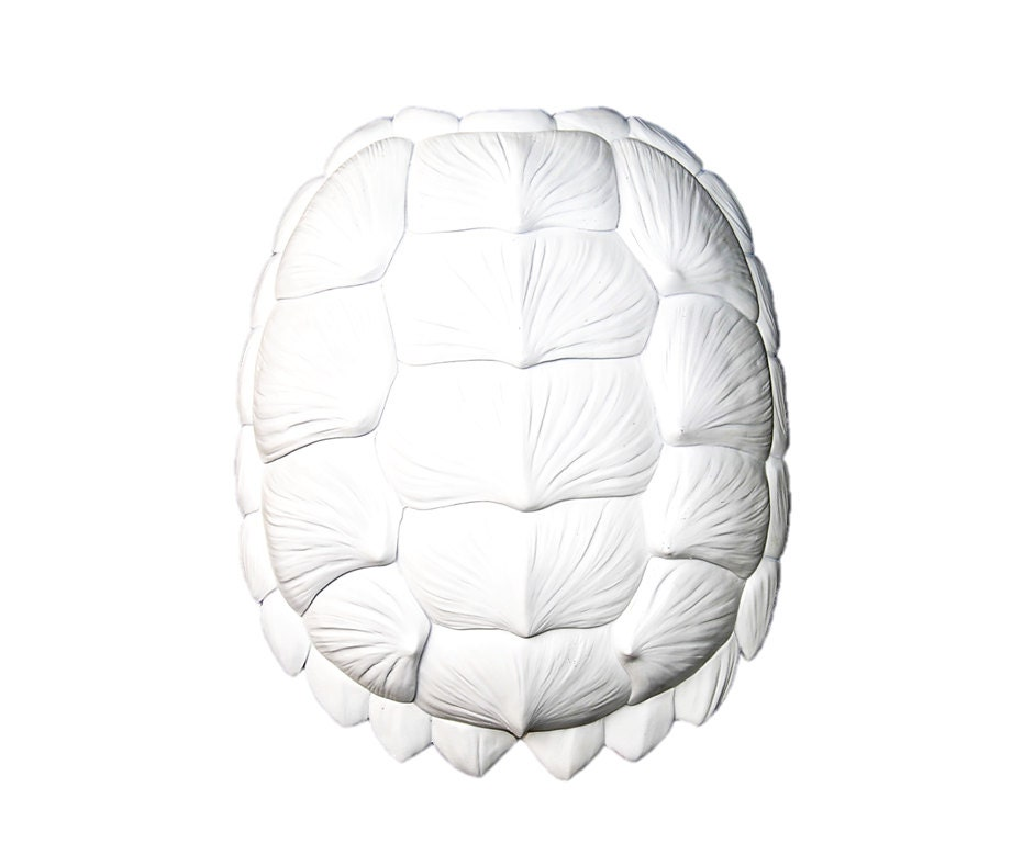The Bayou In White Large Faux Resin Turtle Shell By