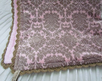 """Sale- Double minky baby blanket - 31"""" X 36""""-  Pink and beige Dynasty Damask minky baby blanket-  minky baby blanket- minky baby blanket"""