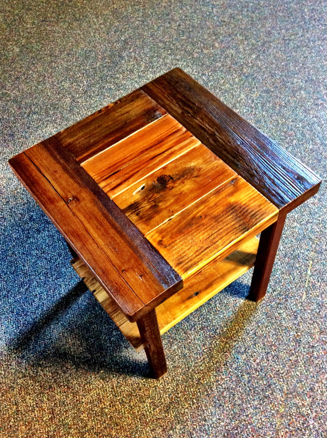 reclaimed wood end table with shelf