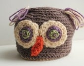 Hand Crafted Brown Owl Hat, Children's Hats, Kids Hats, Animal Hats, Small Size Hats, Etsy Gift Ideas, Holiday Gifts, Owls