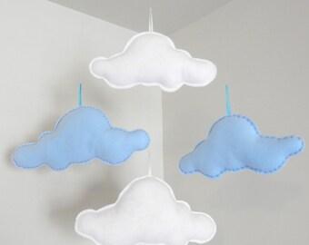 Floating Felt Clouds - Set of 4 Different Size Blue White Felt Clouds