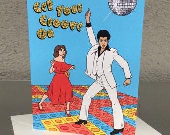 Disco Birthday Greeting Card - 1970's, 70's,  Music, Pop, Saturday Night Fever, Hand Illustration (Item 849)